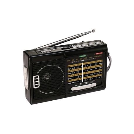 R-39 RADIO QFX RECARGABLE CON LAMPARA AM/FM/SW1-SW7 10 BANDAS