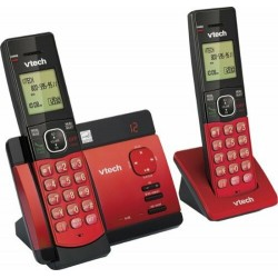 CSR5129-26 TELEFONO INALAMBRICO VTECH DOBLE CON CONTESTADORA, IDENTIFICADOR DE LLAMADAS Y ALTAVOZ, ROJO