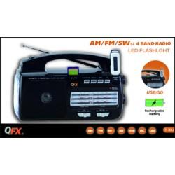 R-30U RADIO QFX AM/FM/SW1-SW2 4 BANDAS, RECARGABLE Y LAMPARA, USB