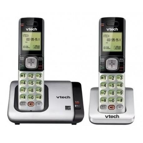 CSR6719-2 TELEFONO INALAMBRICO VTECH DOBLE, GRIS DECT 6.0 IDENTIFICADOR DE LLAMADAS Y ALTAVOZ